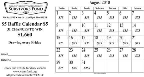 Monthly Calendar Raffle : August raffle calendar winners